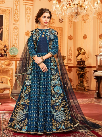 Blue  Silk Cold Shoulder Backless  Anarkali Type Dress With Dupatta