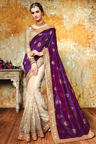 Purple , Beige,Banglori silk,Heavy designer party wear saree