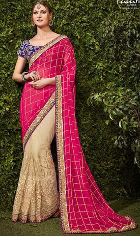 Pink , Beige,Net,Party wear heavy designer saree