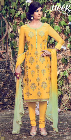 Yellow,Cotton satin,Designer straight party wear salwar suits