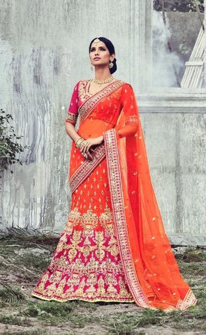 Orange,Net,Designer wedding lehenga saree