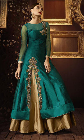 Cyan , beige,Art silk,Designer party wear anarkali suits