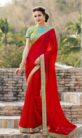 Red , Blue,Chiffon,Party wear designer saree