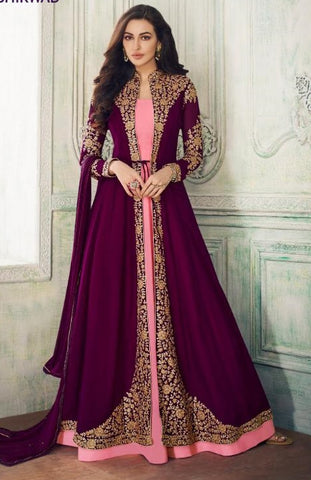 Purple Georgette Party Wear Anarkali With Purple Dupatta