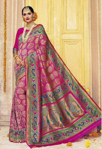 Pink,Silk,Banarsi silk saree