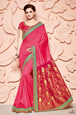 Red Banarsi Silk Saree With Red Blouse