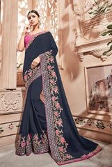 Blue Silk Party Wear  Saree With Pink Blouse