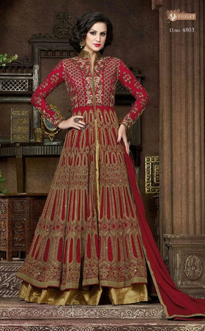 Maroon , beige,Georgette,Heavy designer anarkali party wear suits