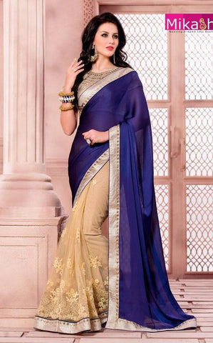 Blue , beige,Chiffon,Party wear designer saree
