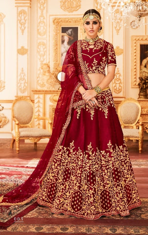 Maroon Silk Lehenga With Thread Work And With Choli and Dupatta