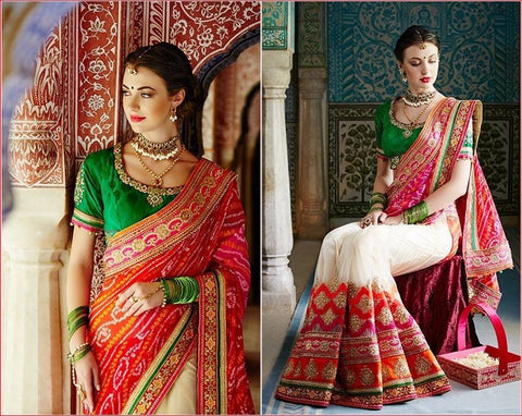 Cream , Pink , Green,Jaipuri,Heavy bridal embroidery saree with designer blouse