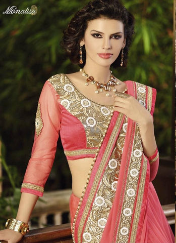 Pink half Georgette and half net saree with handwork and resham embroidery