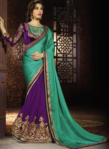 Saree Purple , cyan,chiffon