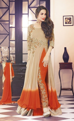 Anarkali suits Beige , Orange,Georgette