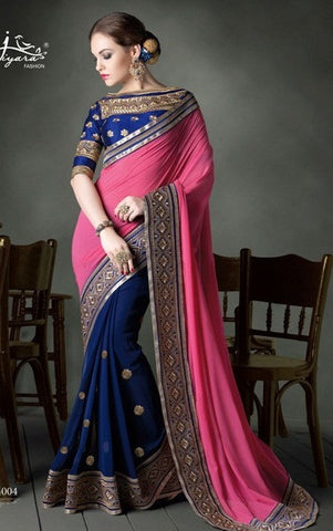 Saree Blue , Pink,Faux Georgette