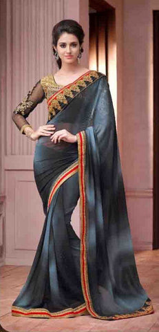 Saree Grey  ,Georgette