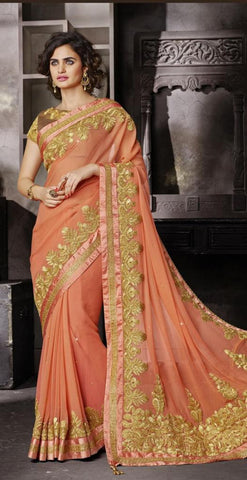 Peach,Chiffon,Heavy embrodiery designer saree with designer blouse