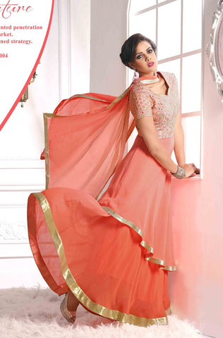 Designer long floor length peach anarkali frill suits with heavy embroidered on top