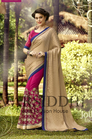 Beige and pink saree wth work