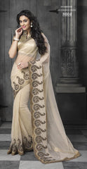 Beige Saree with Zari Work in 7000 Only