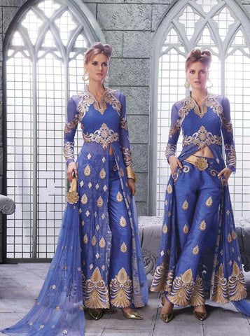 Blue,Silk,Net,Designer suits anarkali heavy embroidery suits