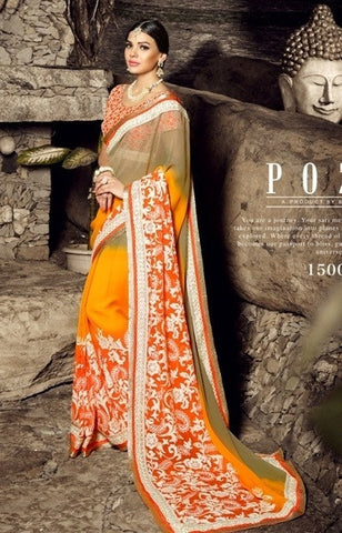 Saree Orange,chiffon