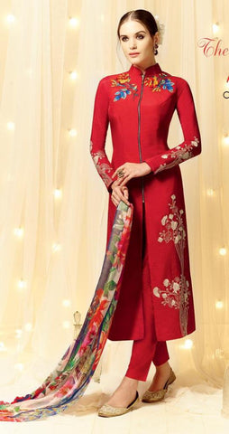 Red,Cotton Satin,Straight designer party wear suits