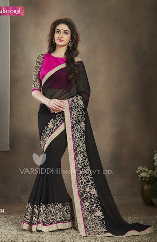 Black and pink georgette saree with embroidery