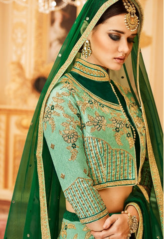 Green Tone Silk Lehenga With Work And With Choli And Dupatta