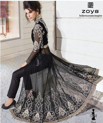 Designer black long embroidered semi stitched suits