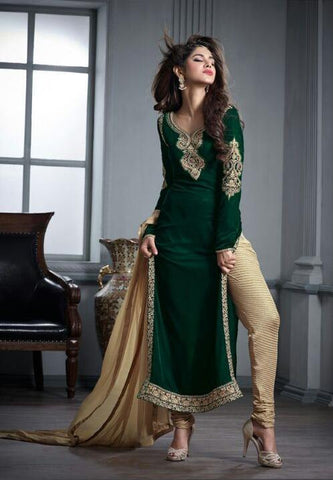 Green , Beige,velvet,Designer staight long suits with velvat fabric