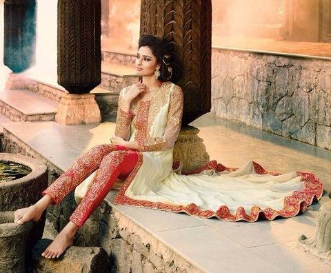White & Red salwar suit
