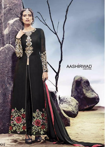 Black,Georgette,Party wear heavy designer suits
