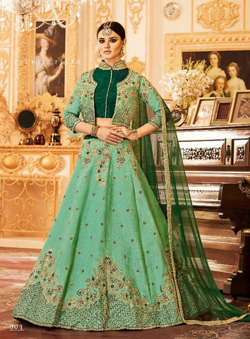 Green ,Silk,Party wear lehenga