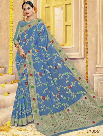 Blue,Silk,Banarsi silk saree