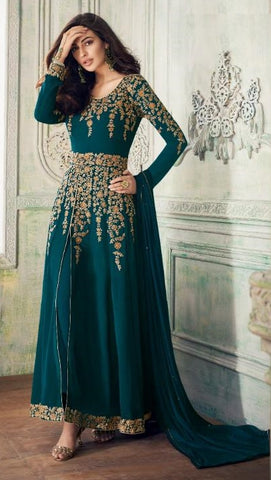 Cyan Georgette Party Wear Anarkali With Cyan Dupatta