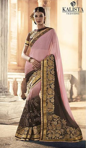 Pink , Brown,Georgette,Heavy party werar designer saree