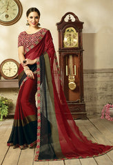Maroon & Black Saree With Blouse