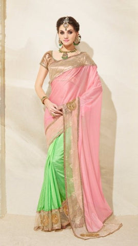 Pink , Green,lycra,Designer heavy party wear saree