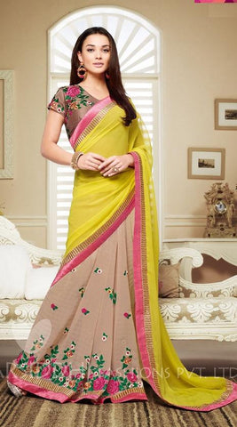 Beige , Yellow,Georgette,Casual designer saree