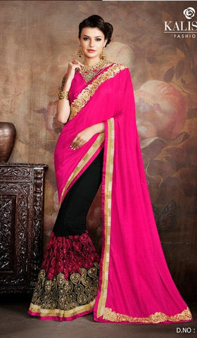 Pink , Black,Silk,Party wear designer saree
