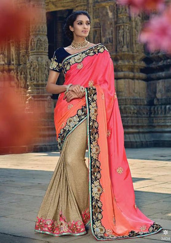 Peach , Beige,Velvet,Heavy designer party wear saree