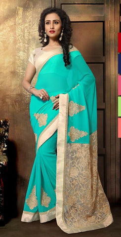 Cyan,Georgette,Heavy designer party wear saree