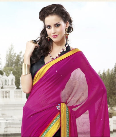 Pink bemberg Saree with embroidery and handwork
