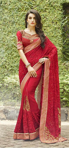Red,Bemberg,Designer wedding saree with heavy embroidery work