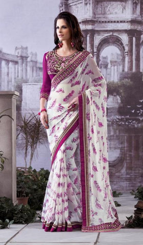 Saree Magenta , White,Georgette
