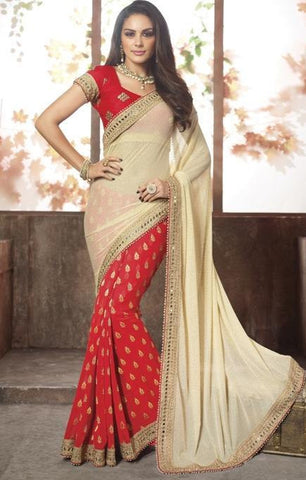 Saree Red & Beige,Viscos
