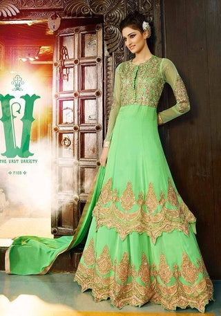 Light green anarkali suit  with golden work on bottom ,top and back