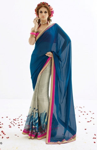 Saree Blue , Grey,Georgette & Pure Chiffon