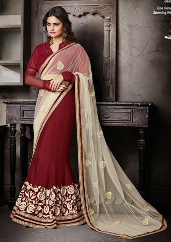 Maroon , Tusher,Chiffon , Net,Heavy embrodiery designer saree with designer blouse